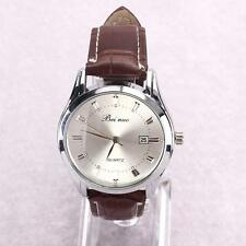 Classic Mens Analog Quartz Watch With Date Comfort PU Leather Band.  USA FAST!