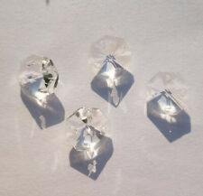 100Pcs 14mm  4 Holes Clear Octagon Crystal Glass Beads Chandelier Chain Part