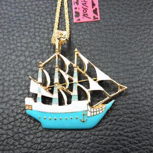 Betsey Johnson Exquisite Blue Enamel Galleon Pendant Sweater Chain Necklace