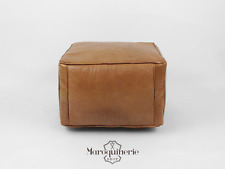 Brown Leather Pouf, Moroccan Leather Pouf, Leather Ottoman, Leather Chair