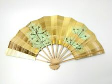 Japanese antique vintage gold pine Maisen Ougi Sensu folding fan chacha
