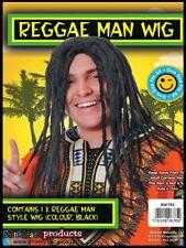 Reggae Man Wig  Rasta Jamaican Hair Fancy Dress Bob Marley Regga Adult Black New