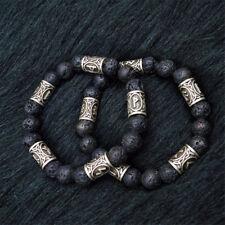 Norse Viking Rune Spacer Charm Lava Stone Beads Bracelet Men Women Cuff Jewelry