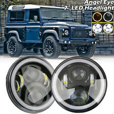 "PAIR 7"" LED HALO HEADLIGHTS E MARKED RHD 110 90 FOR LAND ROVER DEFENDER UK"