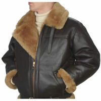 Men Aviator B3 RAF Bomber Flying Brown Shearling Sheepskin Leather Winter Jacket
