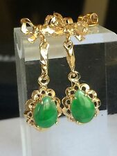 Estate Green  jade in 14k gold earrings