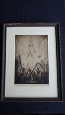 "Joseph Pennell Caissons on Vesey Street (New York) 1924 Etching SIP 13 3/4"" x 9"""