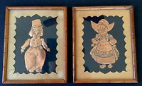Vintage Raised Relief Copper Pressed Dutch Girl And Boy Wall Plaque Framed 1954
