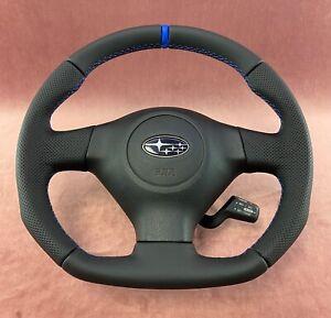 Steering Wheel SUBARU IMPREZA GD WRX STI SPORT STYLE FLAT BOTTOM ! FULL LEATHER