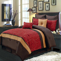 Luxury Atlantis 6-8 Piece Bed In A Bag Comforter Nature Inspired Red Bedding Set