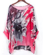 Lagenlook Semi Sheer Kimono Top Tunic Shirt Cover Up Floral Chiffon Tunic Kaftan