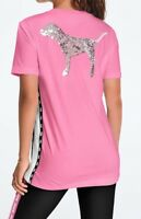 Victoria Secret PINK Bling Campus Short Sleeve Pink Gumball Silver Sequin Dog M