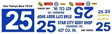 #25 Jabe Thomas Star City Body Shop 1966-1969 1/32nd Scale Slot Car Decals