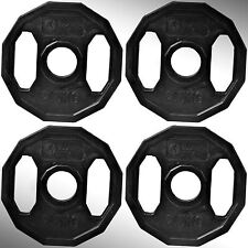 Olympic Rubber Coated Hex Weight Disc Plates 4 x 2.5kg Gym Fitness Train Weights