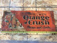 Vintage original ORANGE CRUSH Embossed Tin Advertising Sign Please pay clerk