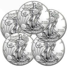 Lot of 5 - 2018 1 oz .999 American Silver Eagle GEM BU $1 Coins SKU# 399398