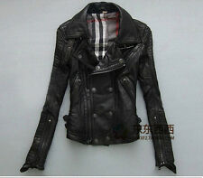 LJZ056 2016 NEW womens leather punk rock moto biker show parkas jacket coat