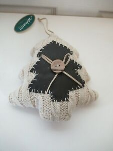 Rustic, country style cream cable knit chunky hanging Christmas tree decoration