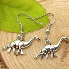 Cute New Tibetan Silver Dinosaur Charm Dangle Drop Earrings