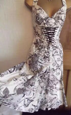 STUNNING❤️ KAREN MILLEN SIZE 10 12 CREAM FANTASY GARDEN CORSET HALTER DRESS