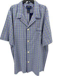 Polo Ralph Lauren Sleep Shirt Men's Size Large Purple Plaid Pajama Lounge Top SS