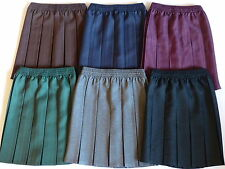SCHOOL UNIFORM SKIRT BOX PLEAT FULL ELASTICATED WAIST GREY/BLACK/NAVY/GREEN 2-17