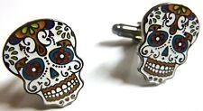Day of the Dead All Saints Day Dia de los Muertos Sugar Skull Cufflinks Pair Set