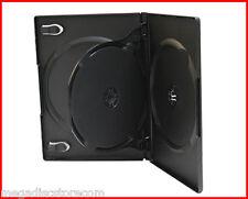 NEW! 3 Pk 14mm Premium Triple DVD CD Movie Game Case Black Multi 3 Disc w Flip