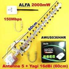 Carte Wifi Alfa AWUS036NHR 2000 mW Antenne 5 dBi + Yagi 16 dBi