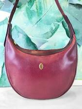 $760 CARTIER Maroon Red Bordeaux Pebbled Leather Gold Logo Shoulder Bag SALE!