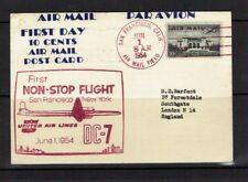United States: 1954 10 cents Air Mail Post Card, First Day, First Flight.