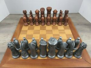 Vintage Medieval Chess Pieces Complete Set 32 Painted Ceramic Copper & Pewter