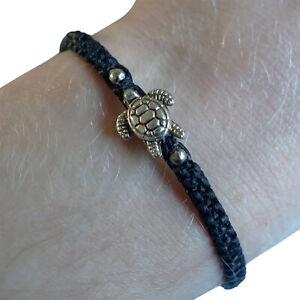 Silver Colour Turtle Bracelet Black Wristband Mens Womens Ladies Kids Boys Girls