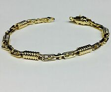 "10kt Solid Yellow gold Handmade Fashion Link Men's Bracelet 9""  5 MM  18 grams"