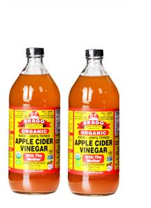BRAGG Organic Apple Cider Vinegar w/h The Mother 32floz 946ml- Double Pack