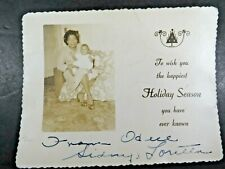 New listing Vintage Photograph African American Lady Baby Holiday Greeting Signed B2482
