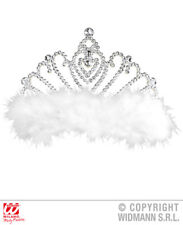 Tiara With White Marabou Fairy Tale Princess Queen Fancy Dress Accessory