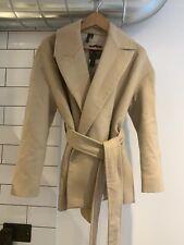 BNWT Topshop Boutique Cream Wool Blend Tie Waist Jacket - UK 8