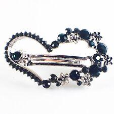 USA BARRETTE Rhinestone Crystal Hairpin Clip Vintage Elegant Heart Black Green