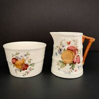 Royal Worcester Bone China Sugar Bowl and Creamer Fruit Pattern