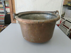 Antica pentola paiolo in rame con manico diametro 26 cm altezza 14 cm