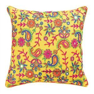 "Indian Boho Paisley Silk Dupioni Ethnic Cushion Covers Embroidered 16"" Square"