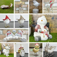 Decorative Christmas Sculptures Snowman Reindeer Bird Ornament Seasonal Festive