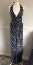 PURPLE AND BLUE PAISLEY PATTERN HALTER NECK MAXI SUN DRESS UK 8 BNWT PRIMARK