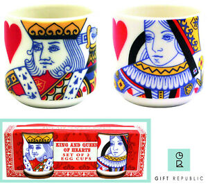 Gift Republic Playing Cards King and Queen of Hearts Egg Cups Set of 2 Boxed