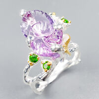 Unique Jewelry Natural Amethyst 925 Sterling Silver Ring Size 8.5/R122221