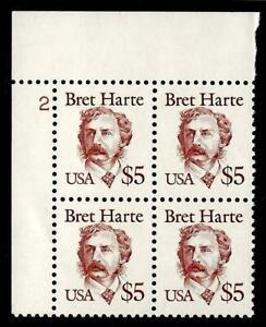 1¢ WONDER ~ U.S. MNH HIGH VALUE $5.00 BRET HARTE PLATE BLOCK OF 4 (FV=$20) ~T174