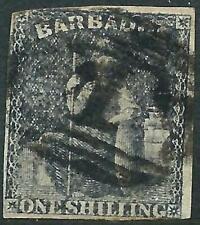BARBADOS - 1858 QV 1/- 'BLACK' Used SG12a Cv £75 [A0046]
