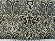 Drapery Upholstery Fabric 100% Cotton Duck Ikat Scrolls - Dark Gray