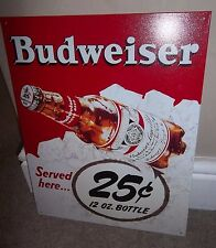 BUDWEISER/BUD  (25c bottle), METAL WALL SIGN 40X30CM,BEER/PUB/BAR/KITCHEN/SALOON